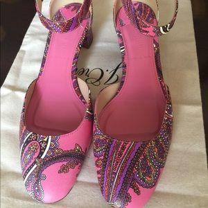 JCrew Paisley ankle strap shoe